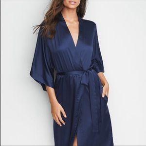 Victoria's Secret silk robe in navy .